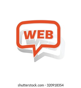 WEB message sticker, orange chat bubble with image inside, on white background