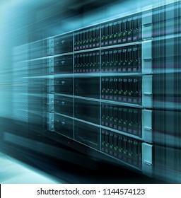 Web network, internet telecommunication technology, big data storage, cloud computing computer service business concept: data warehousing movement in blur speed