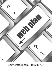 web plan concept with key on computer keyboard, raster