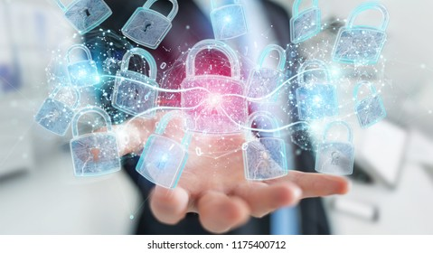 Web security protection interface used by businessman on blurred background 3D rendering