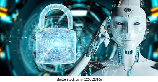 Web security protection interface used by robot on blurred background 3D rendering