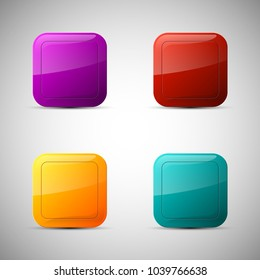 web set rounded button for website or app. Isolated bell sign with border, reflection and shadow on background.