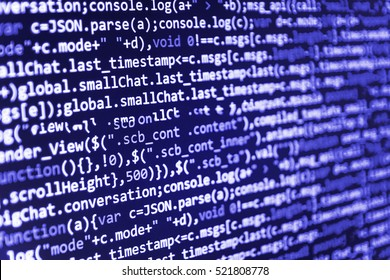 Web site codes on computer monitor. PC software creation business. Internet security hacker prevention. Computer science lesson. Monitor closeup of function source code. Mobile app developer.