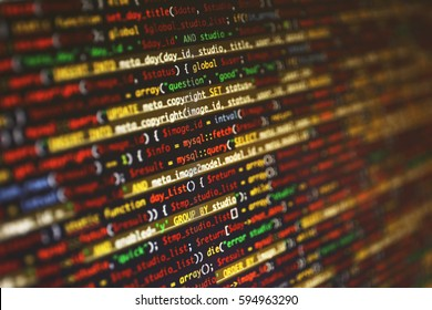 Web site codes on computer monitor, closeup