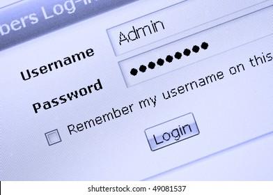 Web site login procedure entrance