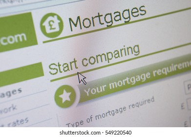 WEB SITE ON COMPUTER SCREEN SHOWING MORTGAGE PRICE COST COMPARISON