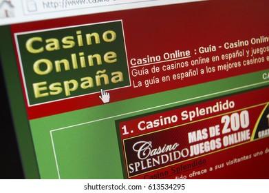 WEB SITE ON COMPUTER SCREEN SHOWING ON LINE POKER GAMBLING CASINO SPAIN, TAKEN IN CLECKHEATON, WEST YORKSHRE, UK, 3RD MARCH 2008
