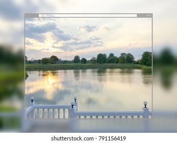 Web site page design concept, sunset sky at the pond nature background.
