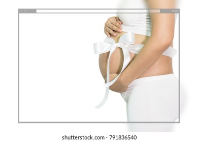Web site page design concept, pregnant woman hands holding belly with white ribbon gift on belly, white background.