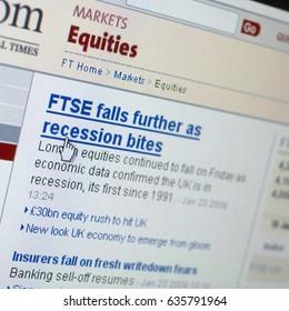 WEB SITE UK ECONOMY DOWNTURN, TAKEN IN CLECKHEATON, WEST YORKSHIRE, UK, 4TH NOVEMBER 2008