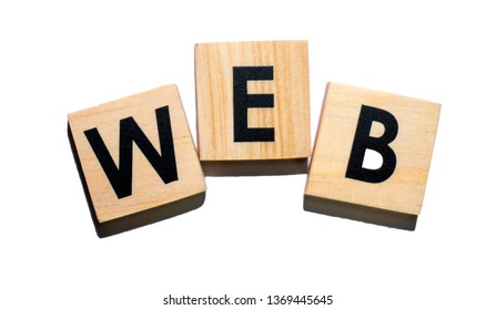 WEB text on wooden cubes on white  background - Image