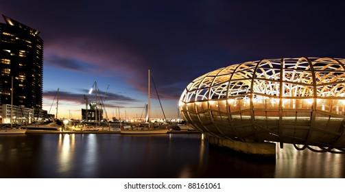 Webb Bridge, Docklands, Melbourne, Australia, at night.
