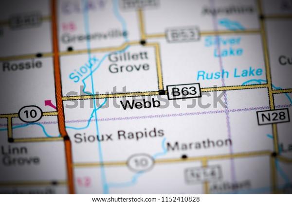 Webb. Iowa. USA on a map