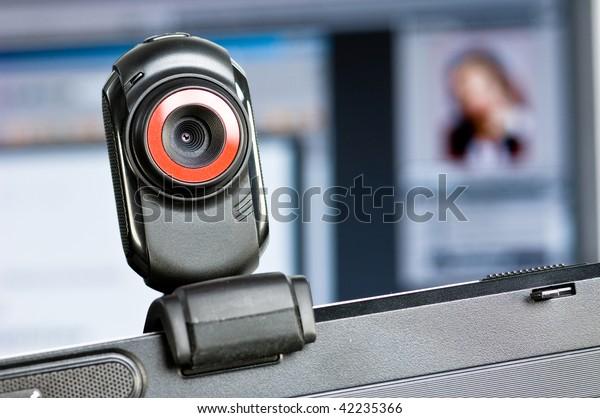 Webcam on a computer screen
