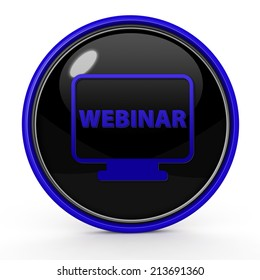 Webinar circular icon on white background