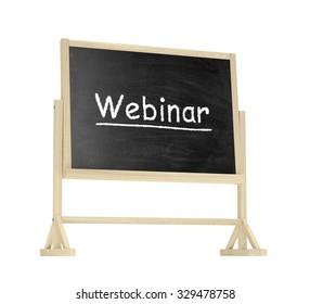 Webinar concept. Blackboard, chalkboard isolated on white