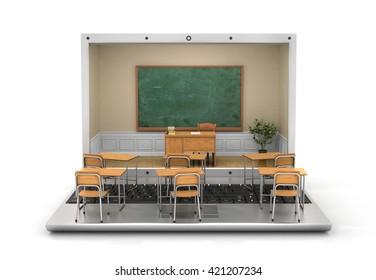 Webinar concept. Chalkboard with teacher desk in the laptop screen and school desk on the keyboard. 3d illustration