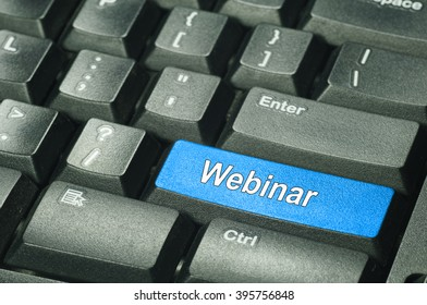 Webinar On computer keyboard - Education Concept