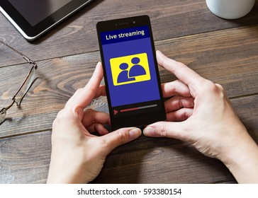 Webinar on the mobile phone. E-learning. Distance learning online. Training on the Internet. Live Stream.
