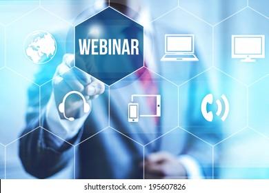Webinar online concept pointing finger
