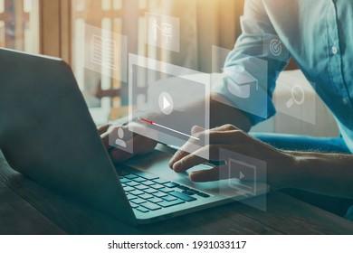 webinar online, education on internet, e-learning concept