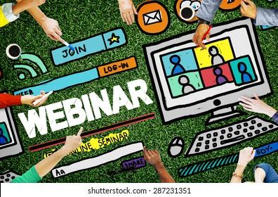 Webinar Online Seminar Global Communications Concept