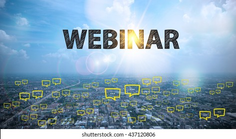 WEBINAR  text on city and sky background with bubble chat ,business analysis and strategy as concept