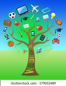 Webinar Tree With Icons Represents Coaching Training 3d Illustration