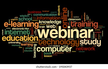 Webinar in word tag cloud on black background