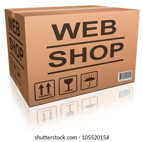 webshop cardboard box package with online order from internet web shop, shopping icon ecommerce