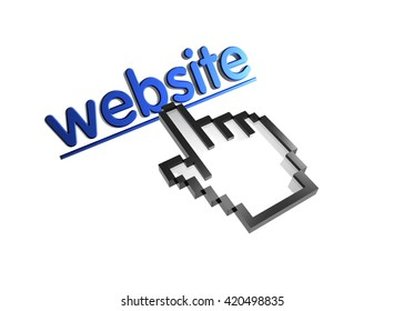 website. 3d rendered inscription. Link and finger, pointer. Isolated on white