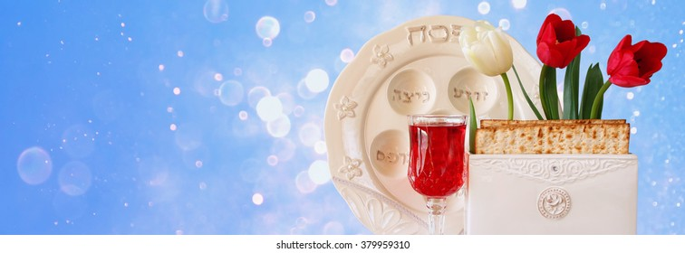 website banner background of Pesah celebration concept (jewish Passover holiday)