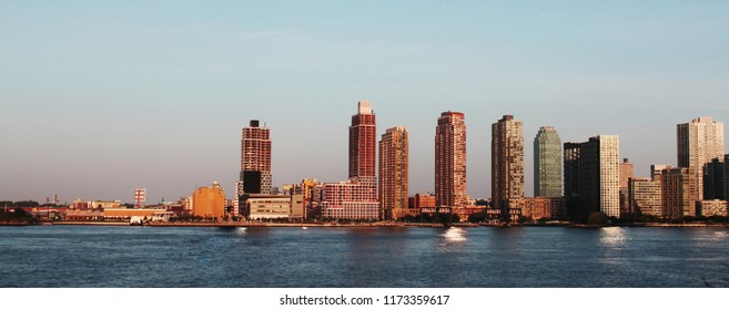 Website banner of New York cityscape, high skyscrapers near sea. Concept of american blod header, cheap tours to USA and green card.