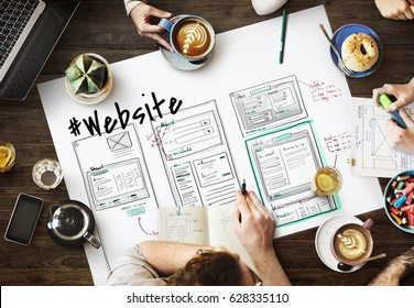 Website development layout sketch drawing - Shutterstock ID 628335110