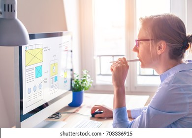 Website development UI/UX front end designer sketching wireframe layout design mockup for responsive web content in bright modern office