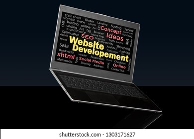Website Development words collage side view on laptop screen