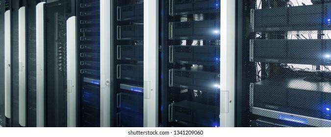 Website header banner. Data center, server room. Fantastic supercomputer.