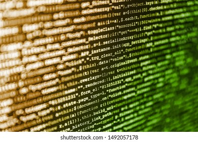 Website HTML Code on the Laptop Display Closeup Photo. Website Coding. Business Corporate Word Search Puzzle. Programming code abstract screen of software developer