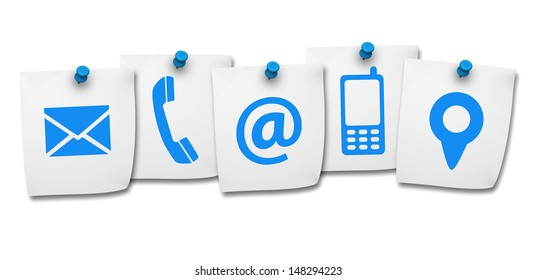 Website and Internet contact us page concept with contact icons and symbols on five paper post it isolated on white background.