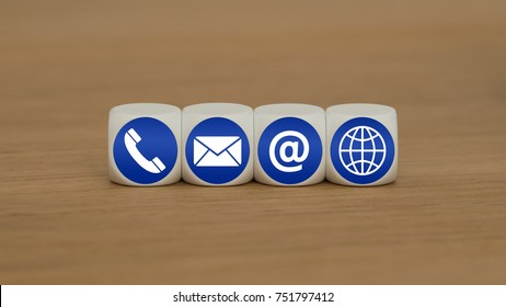 Website and Internet contact us page concept with blue icons