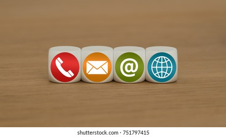 Website and Internet contact us page concept with colored icons
