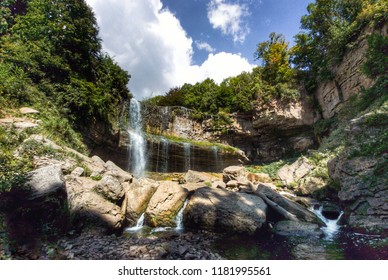Webster Falls in Hamilton on a sunny and hot summer day, Ontario, Canada