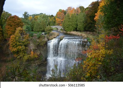 The Webster Falls view along Spencer Gorge hiking trail in Hamilton, Ontario, Canada.  Autumn Season.