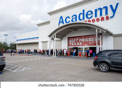 WEBSTER, TEXAS - NOV 2nd 2017 - Houston Astros win the World Series. Fans line up outside of Academy, a Texas sport's and outdoor store, to buy Houston Astros Championship T-Shirts