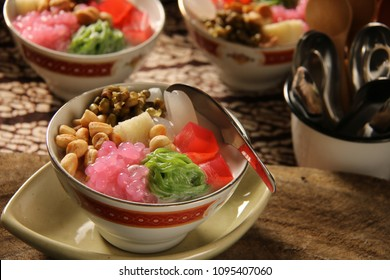 Wedang Angsle. Traditional Javanese warm dessert of sago pearls, rice noodles, agar agar, palm fruit, mung beans, peanuts in ginger and coconut milk soup.