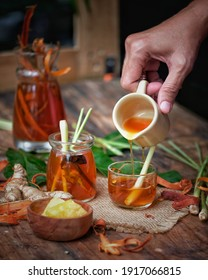 Wedang Uwuh is a typical drink from Yogyakarta with ingredients in the form of leaves similiar to trash, served hot or warm has a sweet and spicy taste with a bright red color and fragnant aroma.