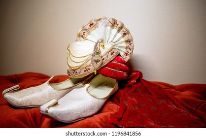 Wedding accessories Turban and Khussa shoes  to be used by the Indian groom