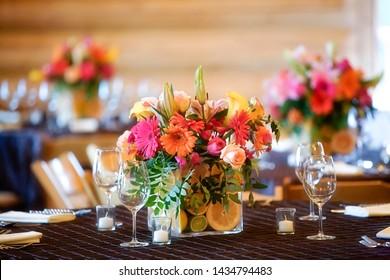 Wedding Aniversary Bouquet Floral Arrangement Colorful Orange Green Purple Pink Close Up