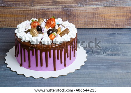 Wedding Anniversary Cake Merengue Chocolate Decoration Stock Photo