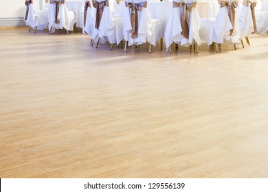 wedding or another catered event dance floor with chairs